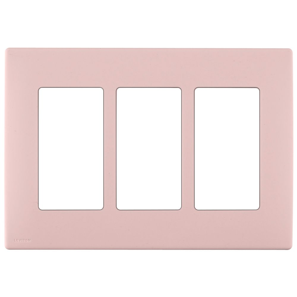 3-Gang Screwless Snap-On Wallplate for 3 Devices, in Fresh Pink Lemonade