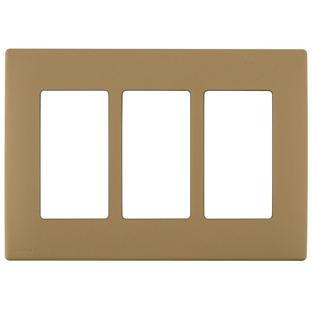 3-Gang Screwless Snap-On Wallplate for 3 Devices, in Warm Caramel
