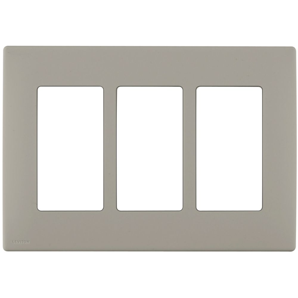 3-Gang Screwless Snap-On Wallplate for 3 Devices, in Wood Smoke