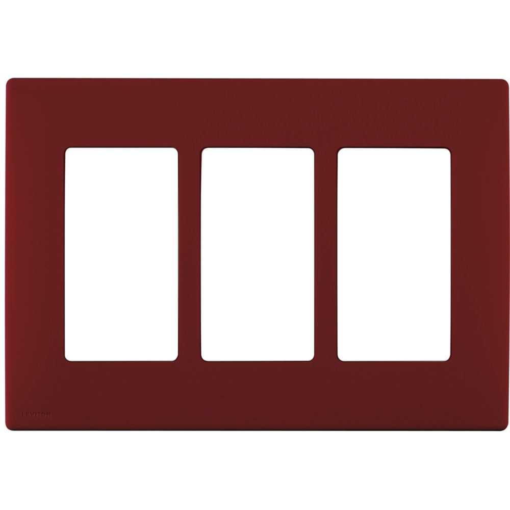 3-Gang Screwless Snap-On Wallplate for 3 Devices, in Deep Garnet