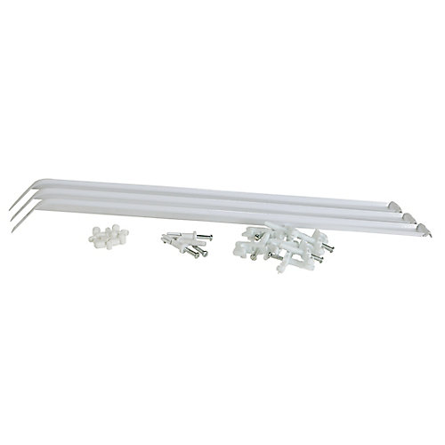 12-inch Closet Organizer Shelf Support Brace in White with Installation Hardware