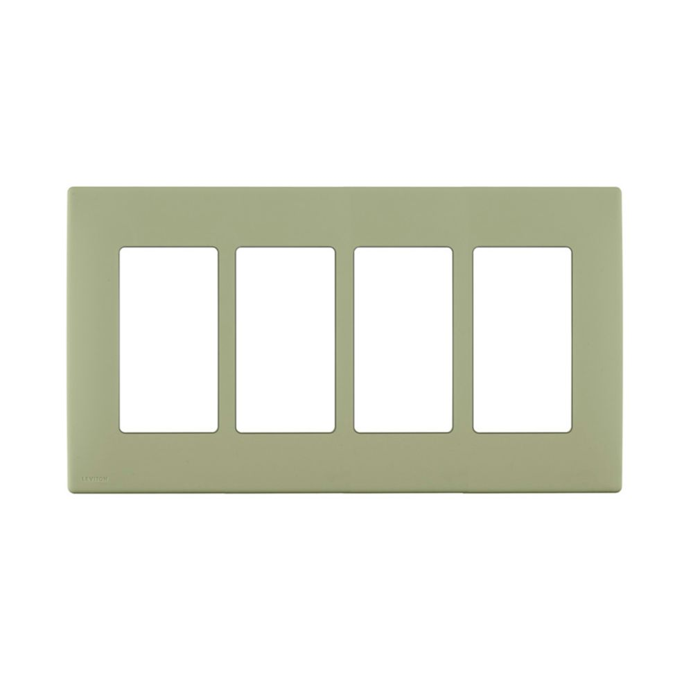 4-Gang Screwless Snap-On Wallplate for 4 Devices, in Prairie Sage
