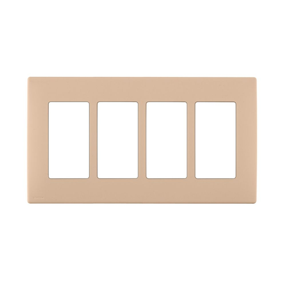 4-Gang Screwless Snap-On Wallplate for 4 Devices, in Dapper Tan