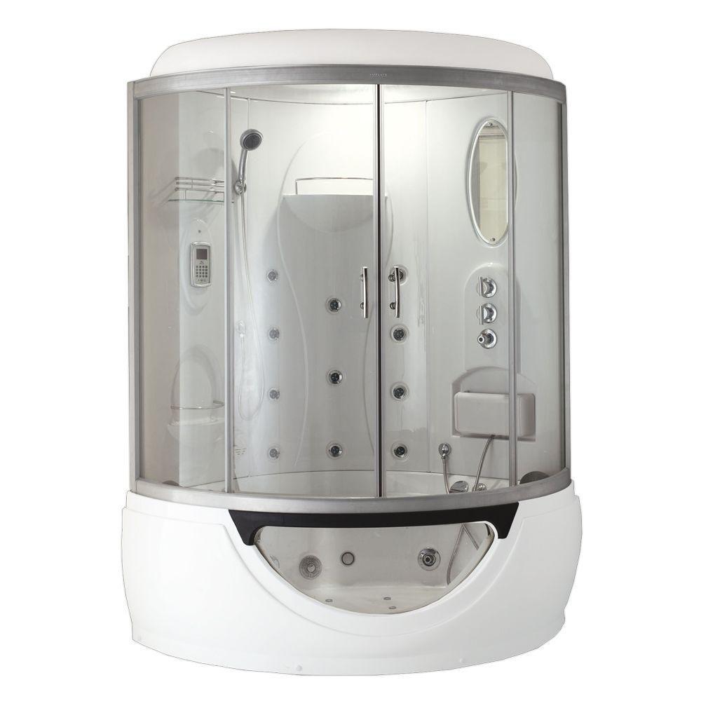 À vapeur moderne et cabine de douche avec une baignoire à remous, multi corps du message jets d'e...
