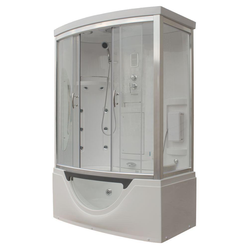 Modern Steam & Shower Enclosure with Whirlpool Bathtub, Multi Body Message Water Jets, Radio & Ar...