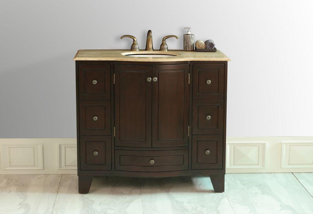 Grand Cheswick 40-inch W Vanity with Travertine Marble Top