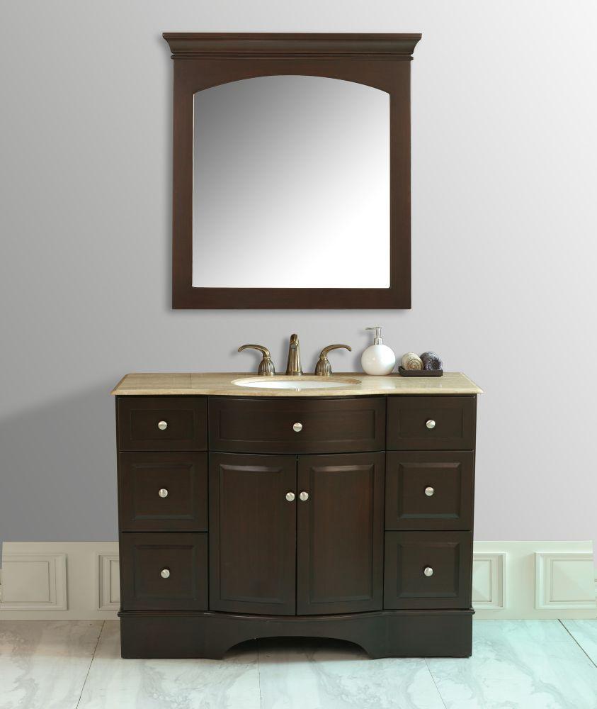 Stufurhome Lotus 48-inch W Vanity with Travertine Marble Top and Mirror