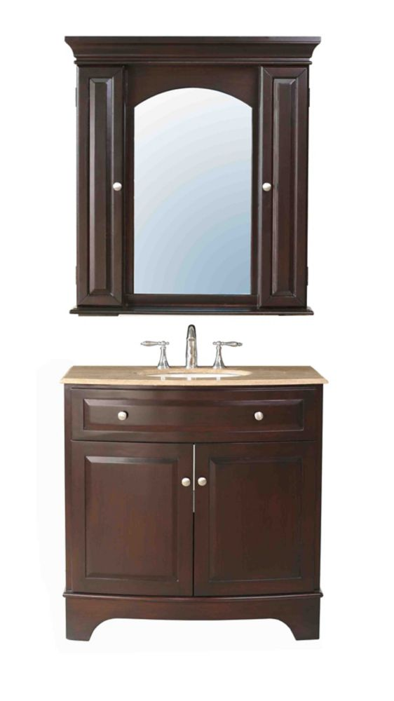 Stufurhome 36 Inches Amanda Single Sink Vanity With Travertine Marble Top And Mirror Faucet Not