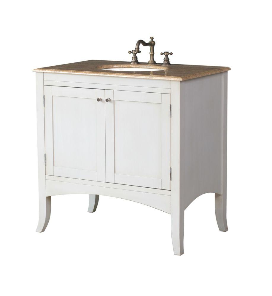 Meuble-lavabo Alyssa de 90 cm (36 po.) de teinte blanc cassé avec comptoir en marbre travertin, é...