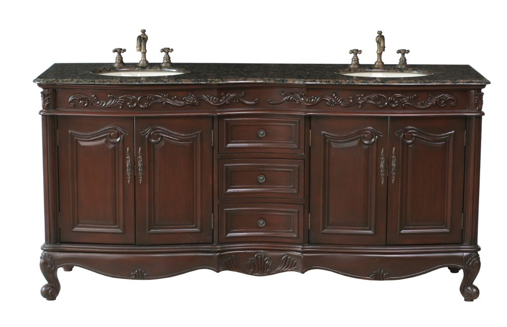 Saturn 72-inch W Double Sink Vanity with Granite Top in Baltic Brown