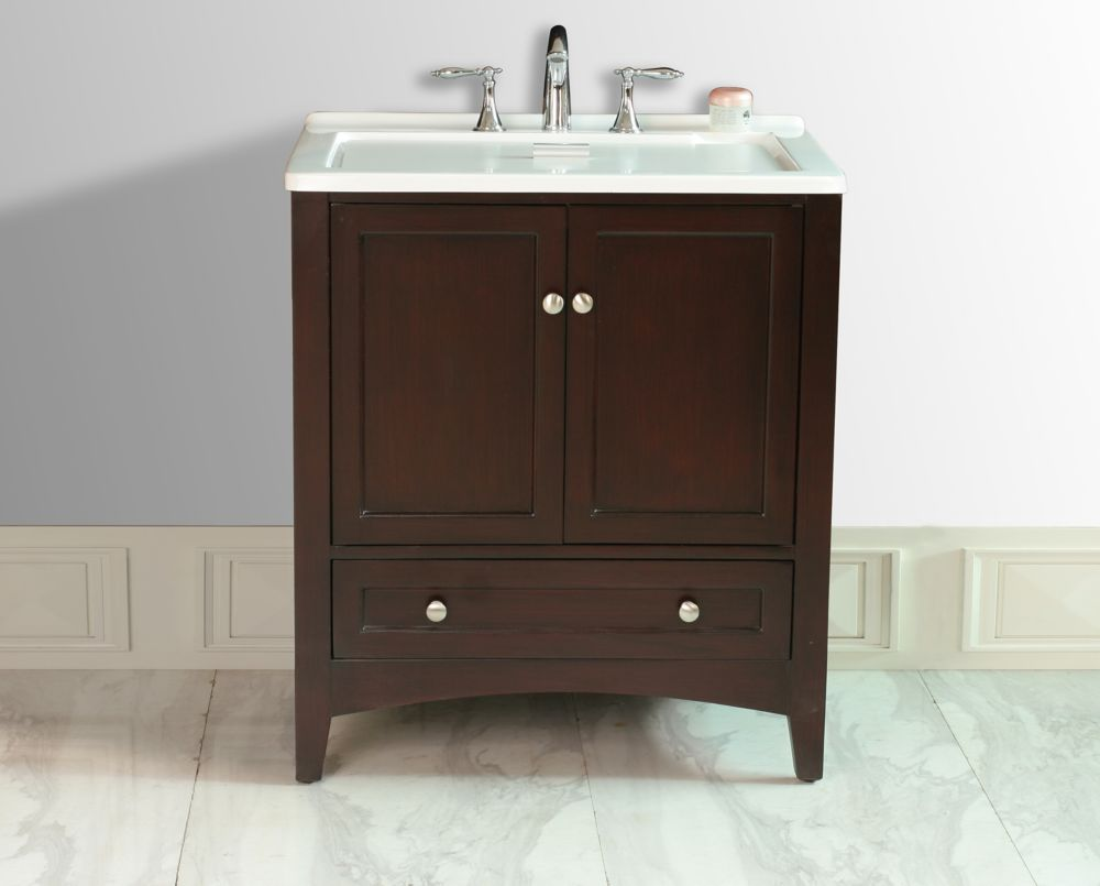 Stufurhome Manhattan 30.5-inch Laundry Basin in Espresso with Acrylic Vanity Top in White