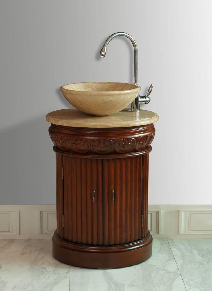 Edwina 23-inch W Vanity with Travertine Marble Top