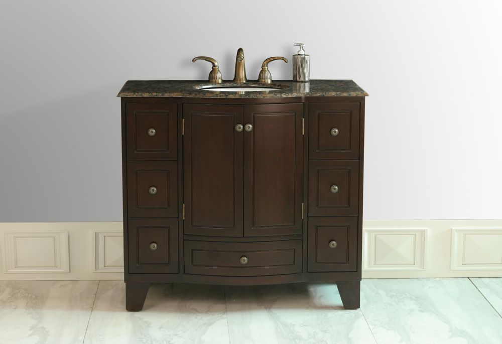 Meuble-lavabo Grand Cheswick de 100 cm (40 po.) de teinte cerise noire avec comptoir en granit br...