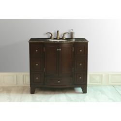 Stufurhome Grand Cheswick 40-inch Vanity in Dark Cherry with White Sink