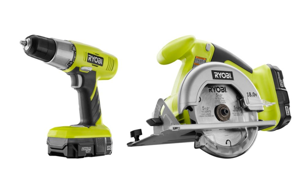 18V Lithium Drill and Circular Saw with Two Batteries