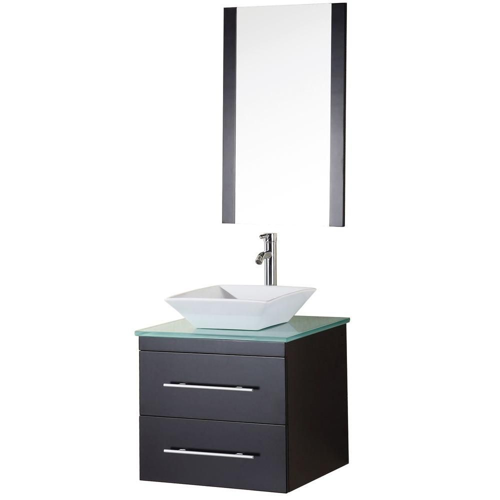 Elton 24-inch W Vanity in Espresso with Glass Top in Mint and Mirror