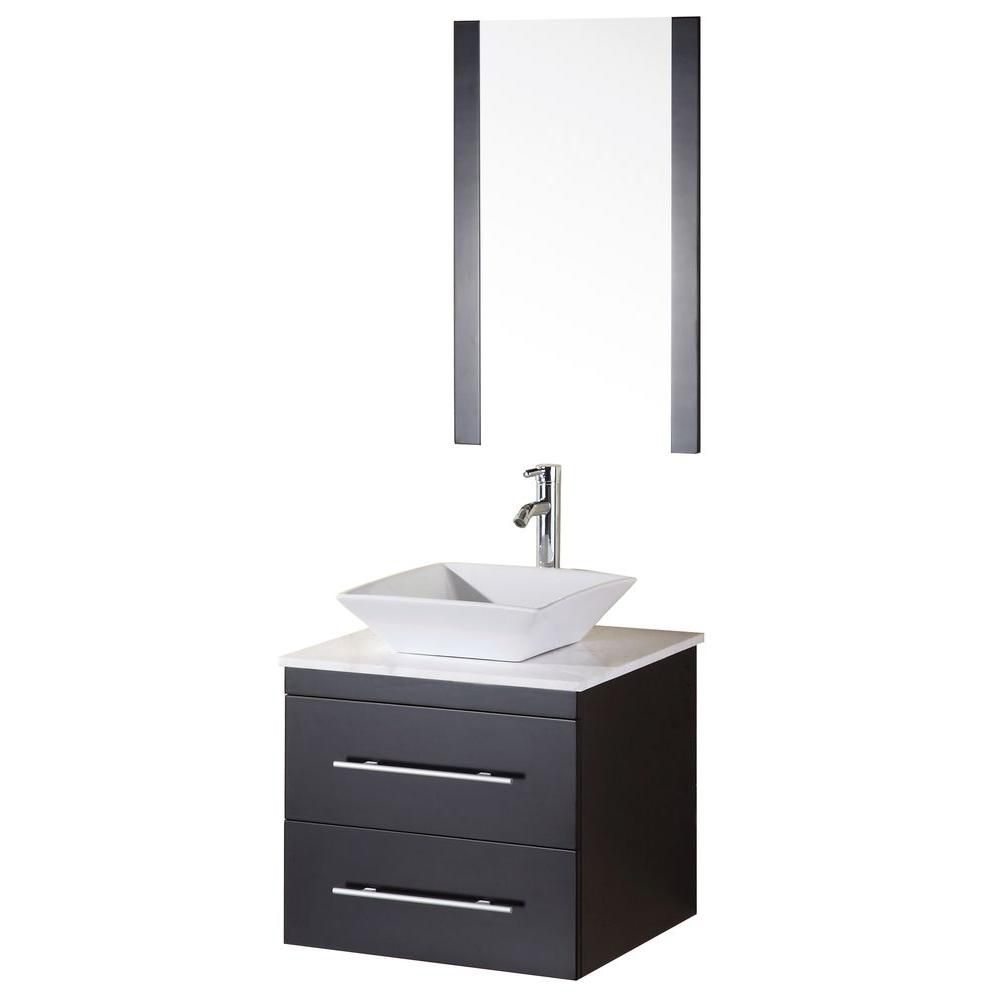Elton 24-inch W Vanity in Espresso with Marble Top in Carrara White and Mirror