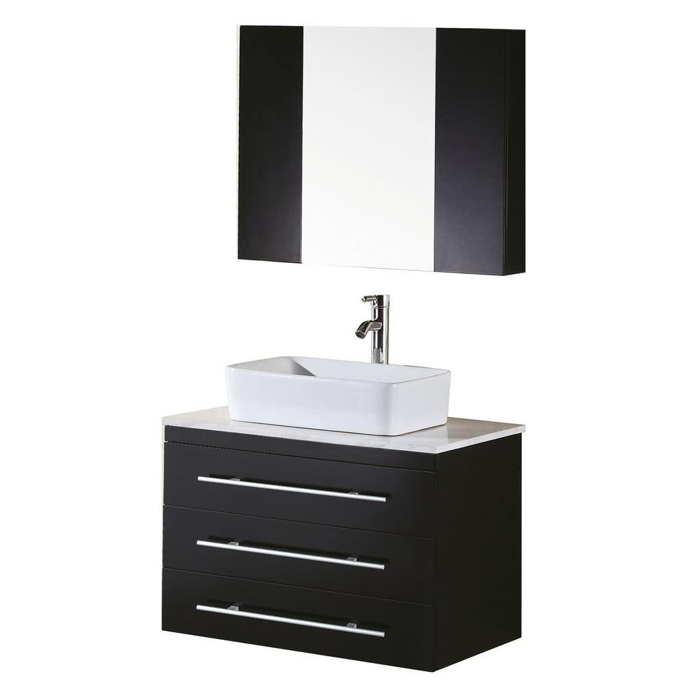 Design Element Portland 30-inch W x 22-inch D Vanity and Mirror in Espresso with White Quartz Vanity Top