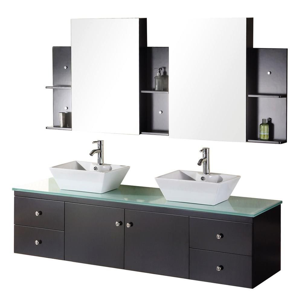Portland 61-inch W Vanity in Espresso with Glass Top in Mint and Mirror