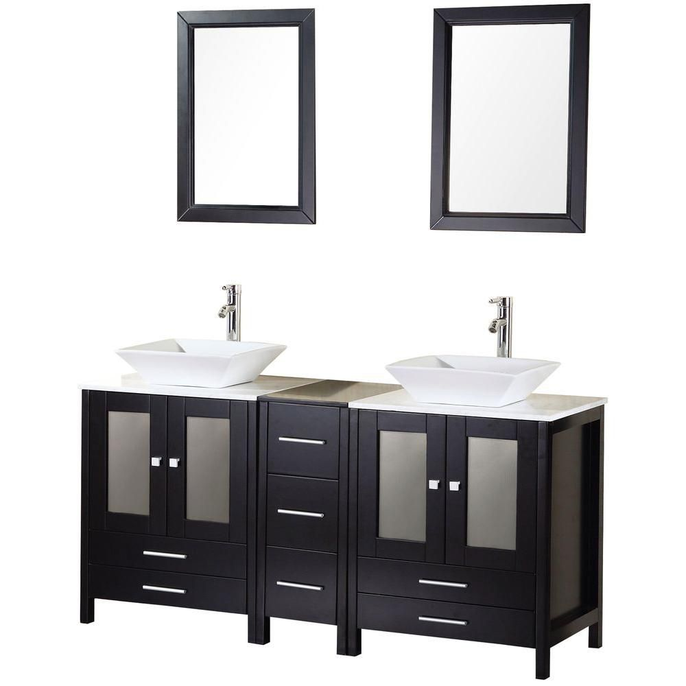 Arlington 61-inch W Vanity in Espresso with Marble Top in Carrara White and Mirror