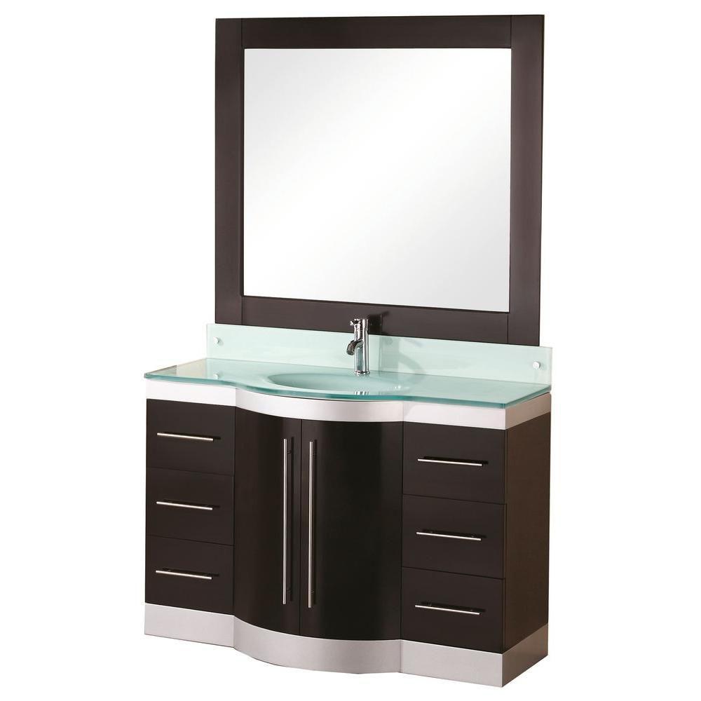 Design Element Jade 48-inch W x 22-inch D Vanity in Espresso with Glass Vanity Top and Mirror in Mint