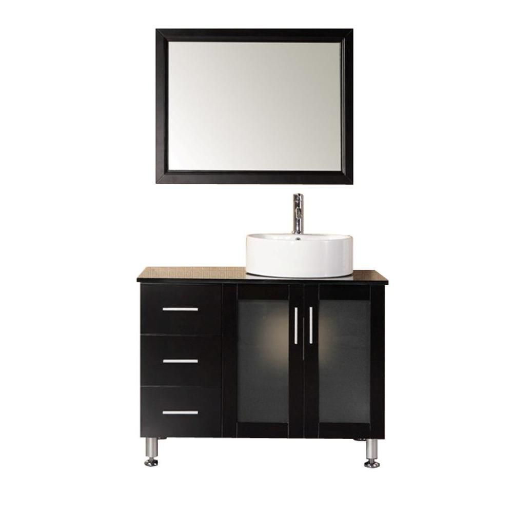 Malibu 39-inch W Vanity in Espresso with Tempered Glass Top in Black and Mirror