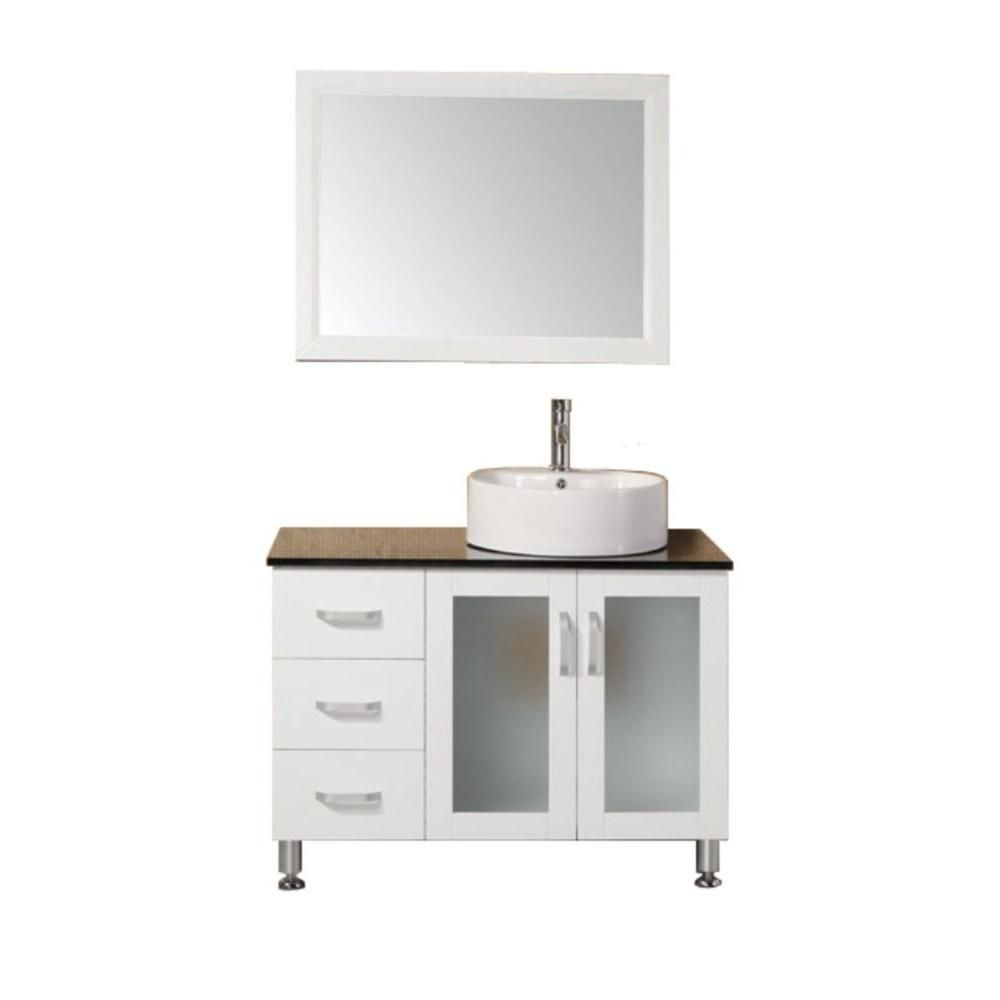 Malibu 39-inch W Vanity in White with Tempered Glass Top in Black and Mirror