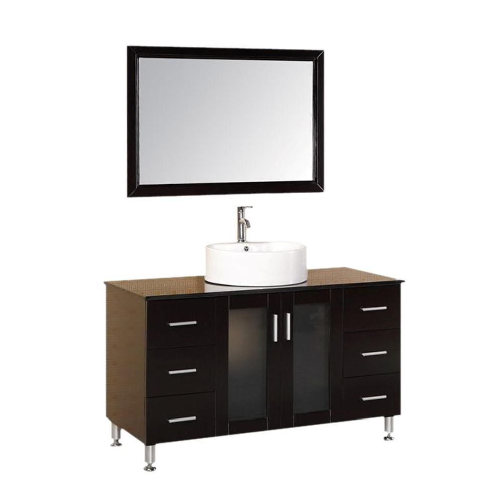 Malibu 48-inch W Vanity in Espresso with Tempered Glass Top in Black and Mirror