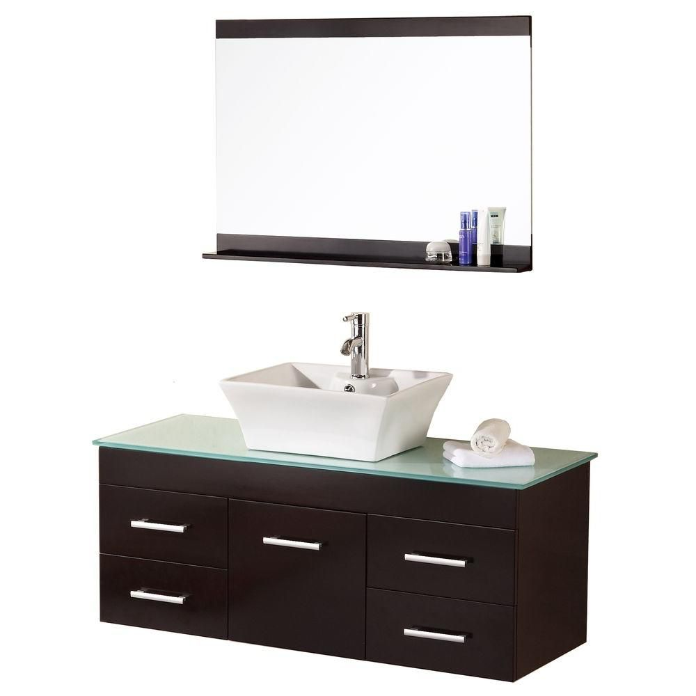 Madrid 48-inch W Vanity in Espresso with Glass Top in Mint and Mirror
