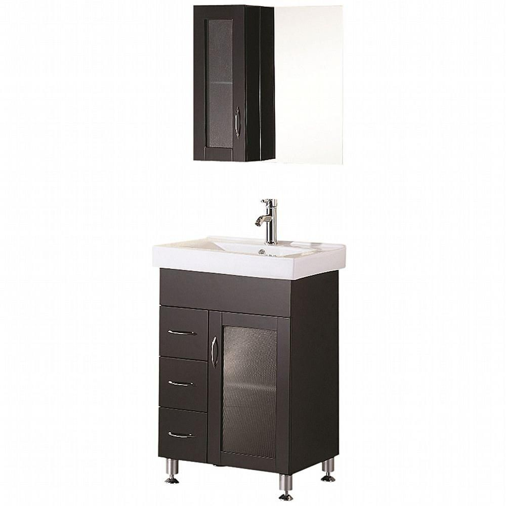 Oslo 24-inch W Vanity in Espresso with Porcelain Top in White and Mirror
