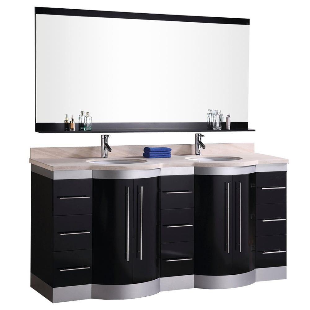 Design Element Jade 72-inch W x 22-inch D Vanity in Espresso with Vanity Top and Mirror in Cream
