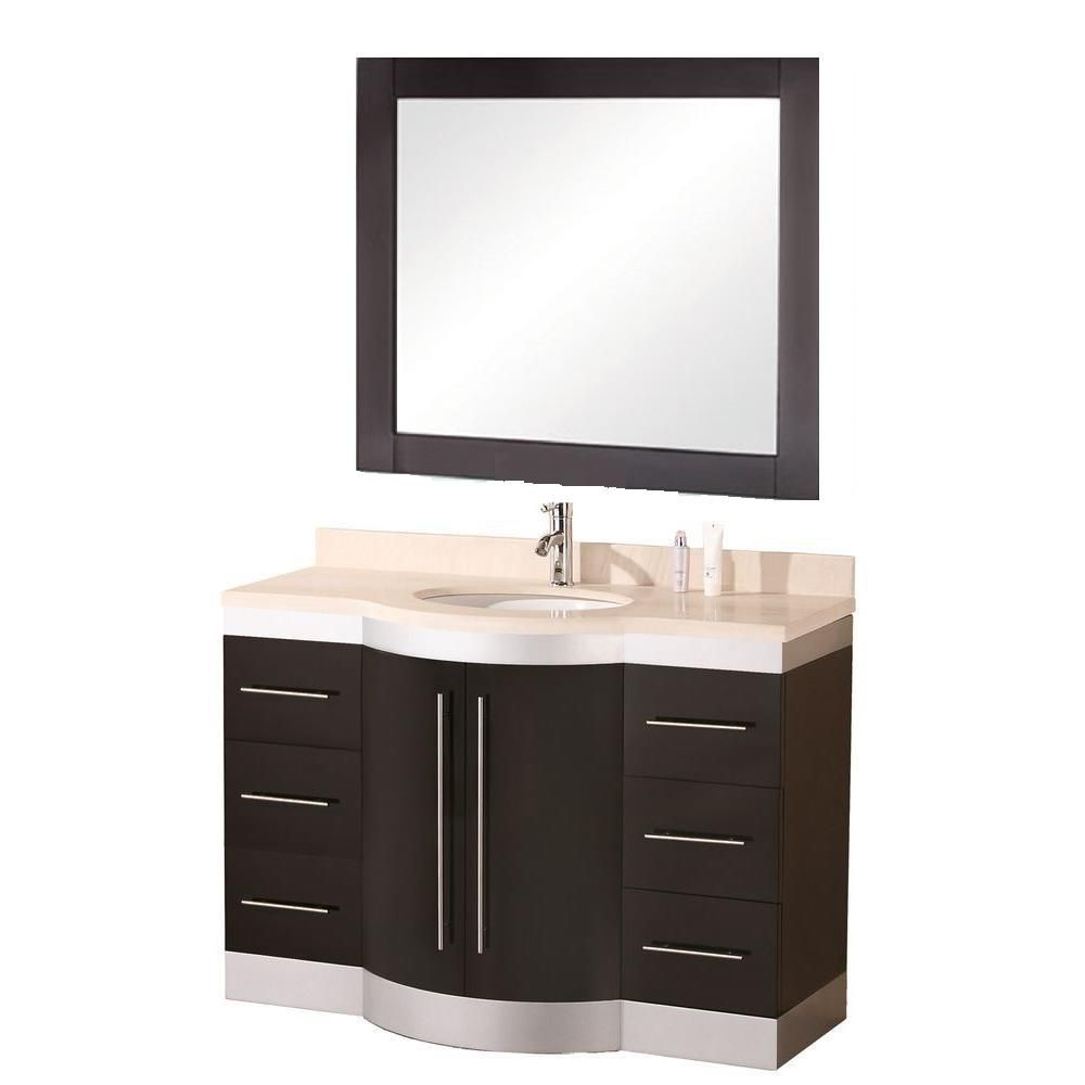 Jade 48-inch W Vanity in Espresso with Granite Top in Cream and Mirror