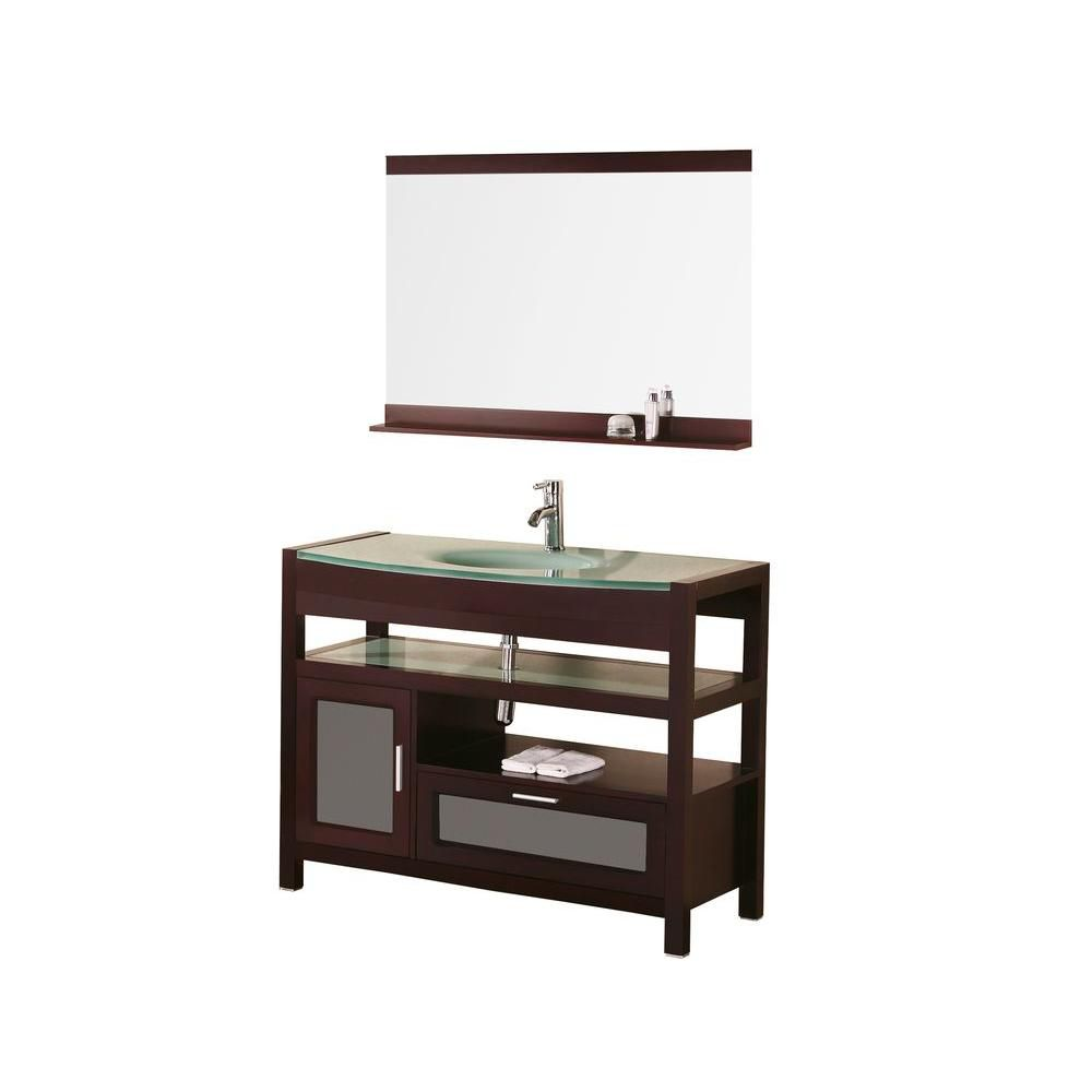 Milan 43-inch W Vanity in Mahogany with Glass Top in Mint and Mirror