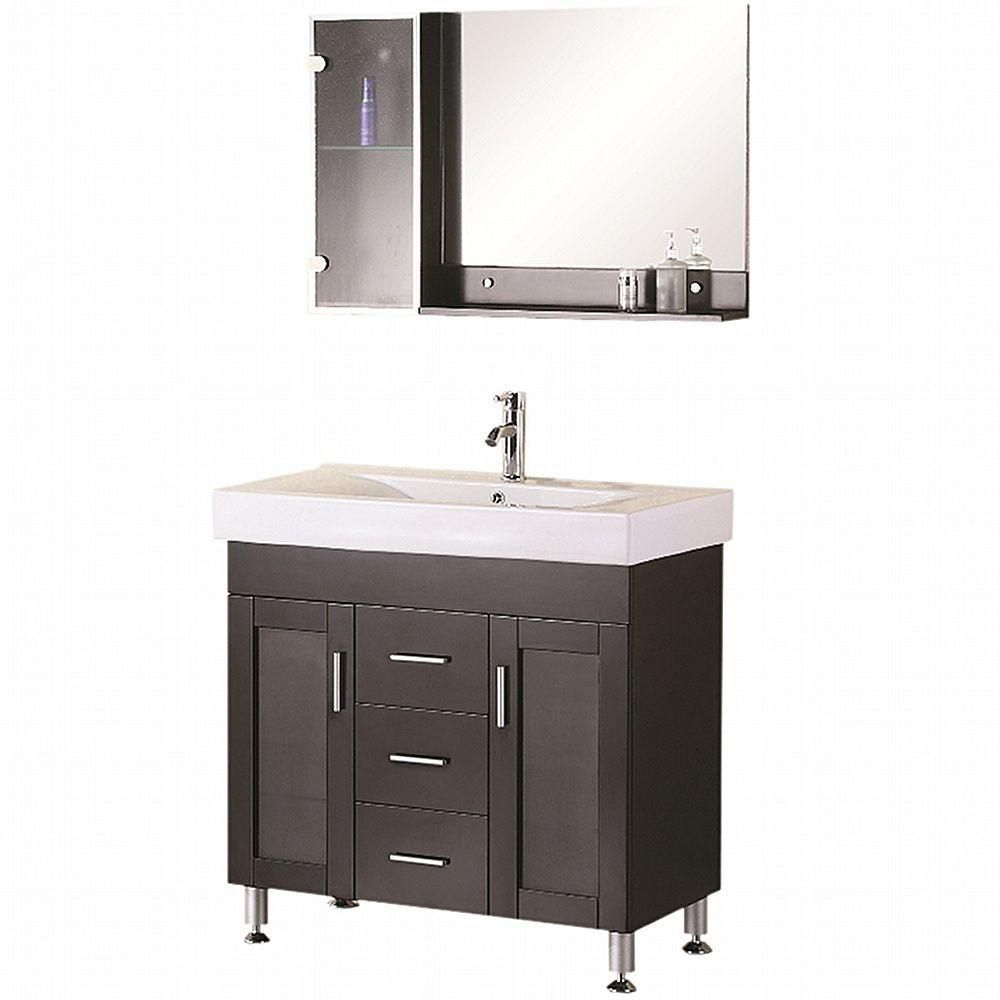 Miami 36-inch W Vanity in Espresso with Porcelain Top in White and Mirror