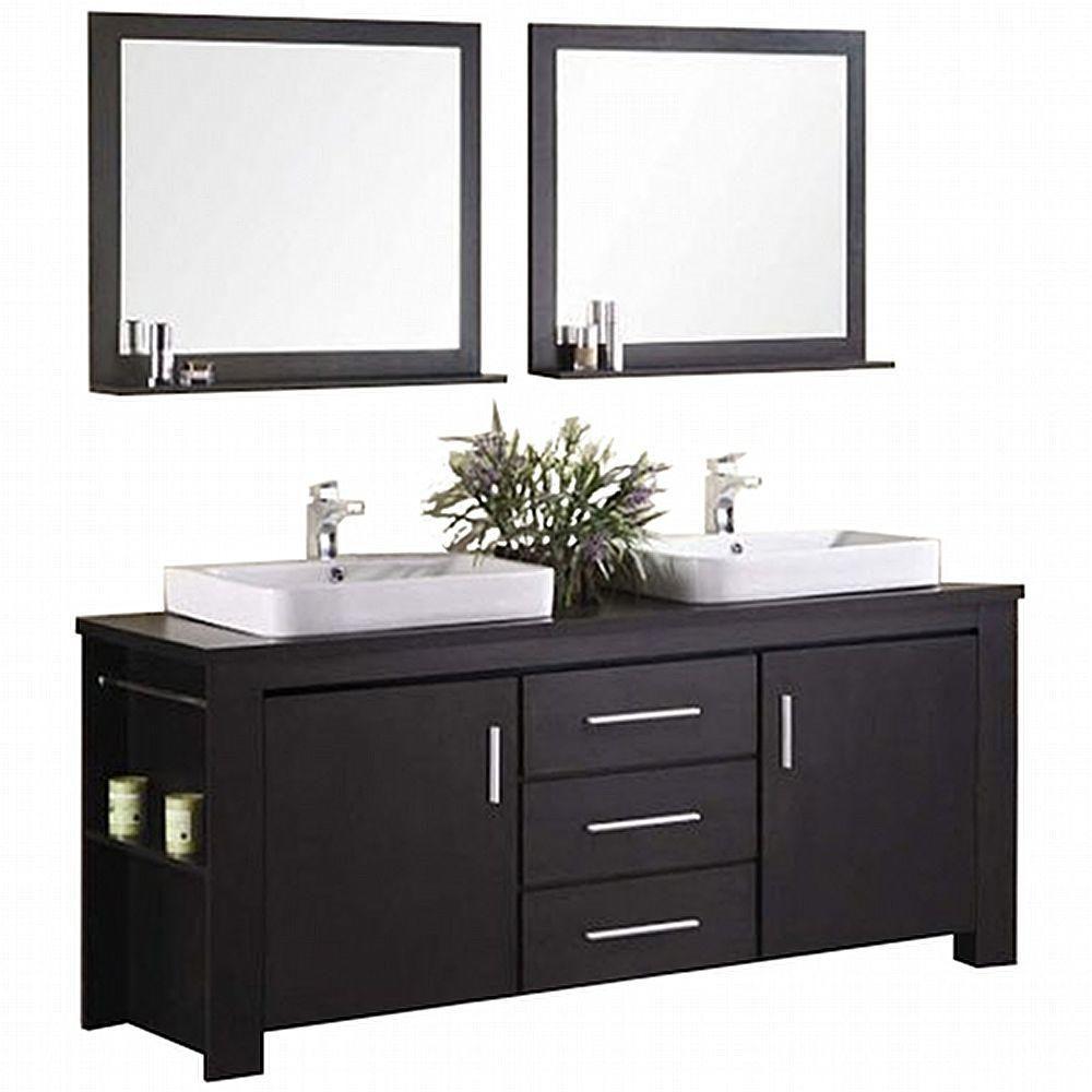 Washington 72-inch W Vanity in Espresso with Wood Top in Espresso and Mirror