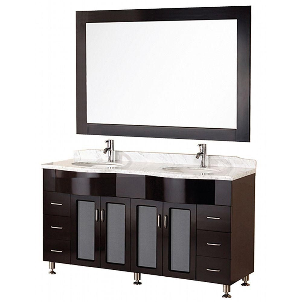 Cambridge 61-inch W Vanity in Espresso with Marble Top in Carrara White and Mirror