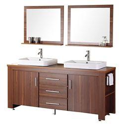 Design Element Meuble Double Vasque Washington de 72 po (Robinet non inclus)