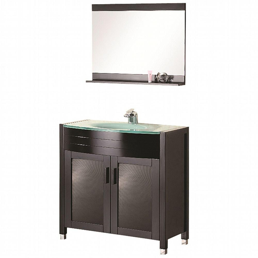 Design Element Prestige 36-inch W x 20-inch D Vanity in Espresso with Glass Vanity Top and Mirror in Mint