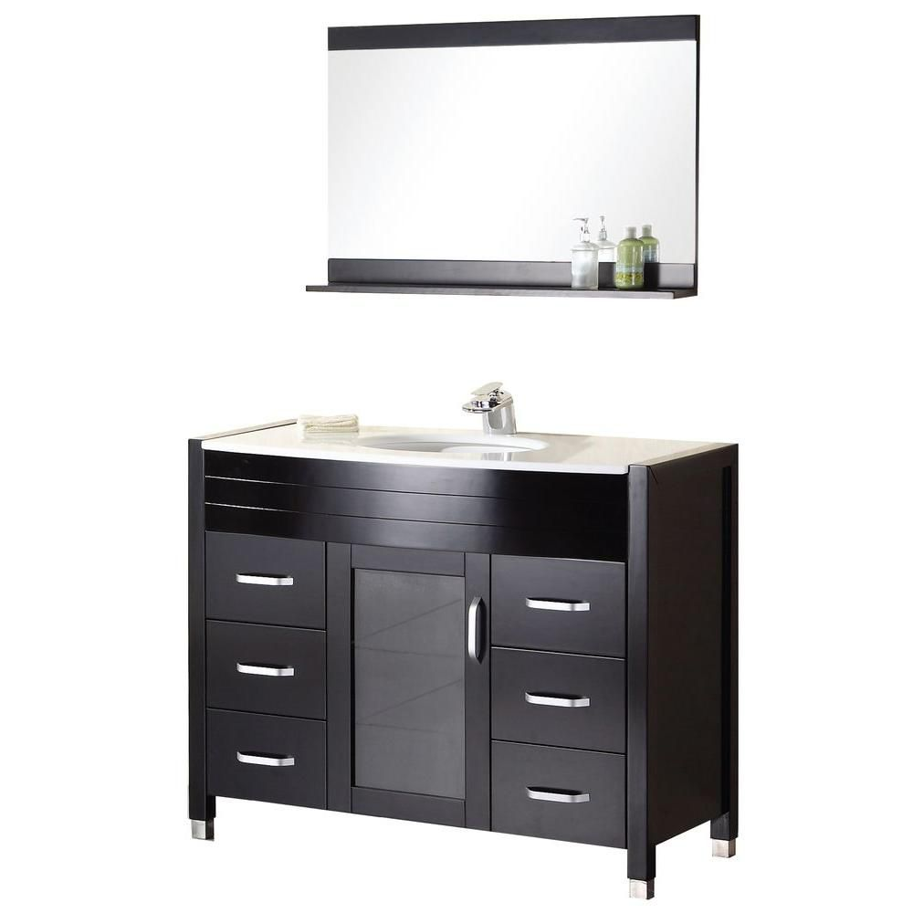 Cascade 48-inch W Vanity in Espresso with Composite Stone Top in White and Mirror