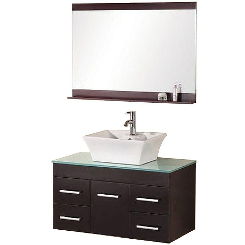 Madrid 36-inch W Vanity in Espresso with Glass Top in Mint and Mirror