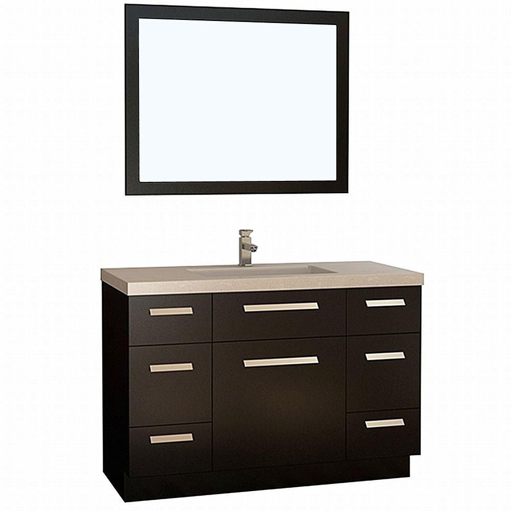 Design element moscony 48 inch w vanity in espresso with for 48 inch mirrored bathroom vanity