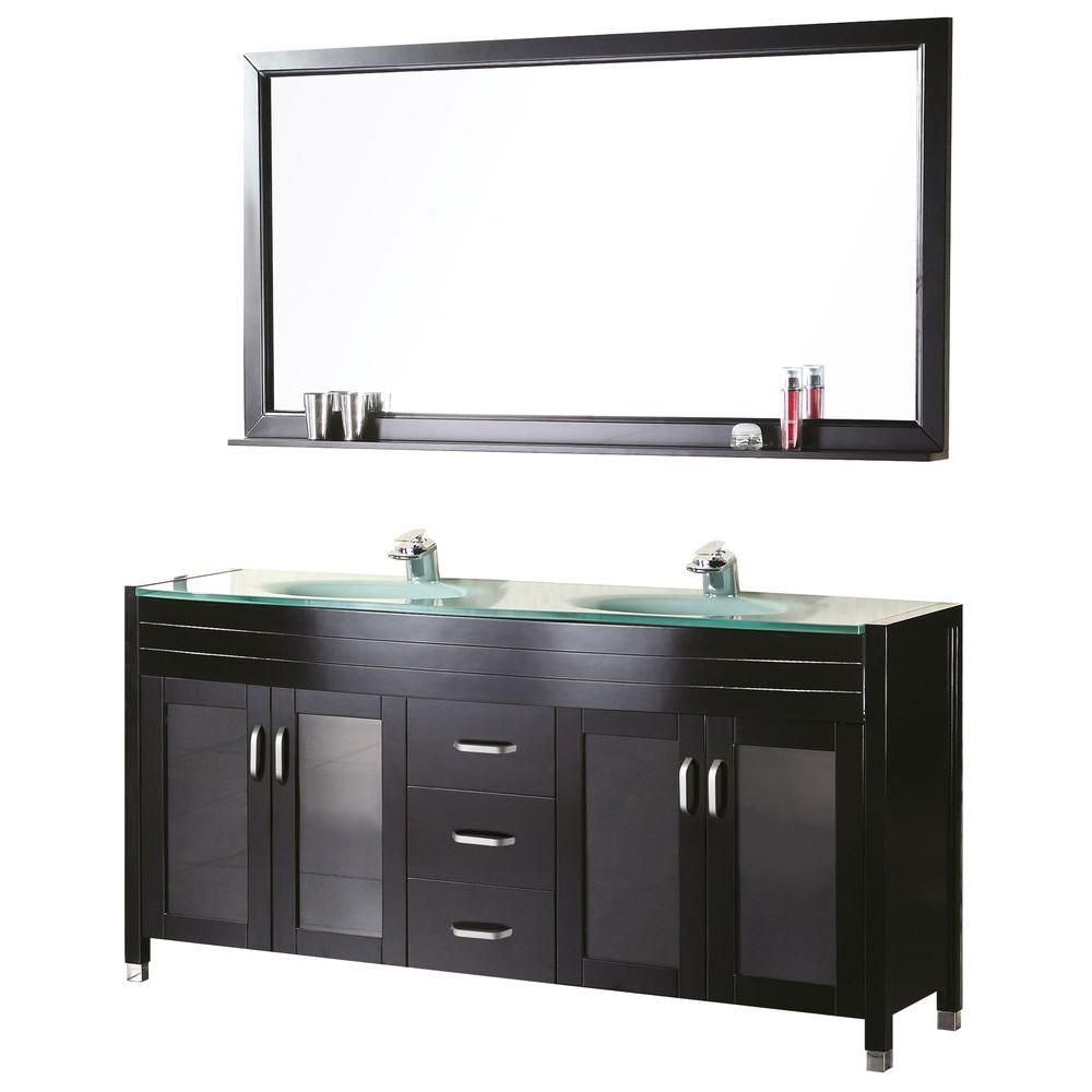 Waterfall 61-inch W Vanity in Espresso with Glass Top in Mint and Mirror