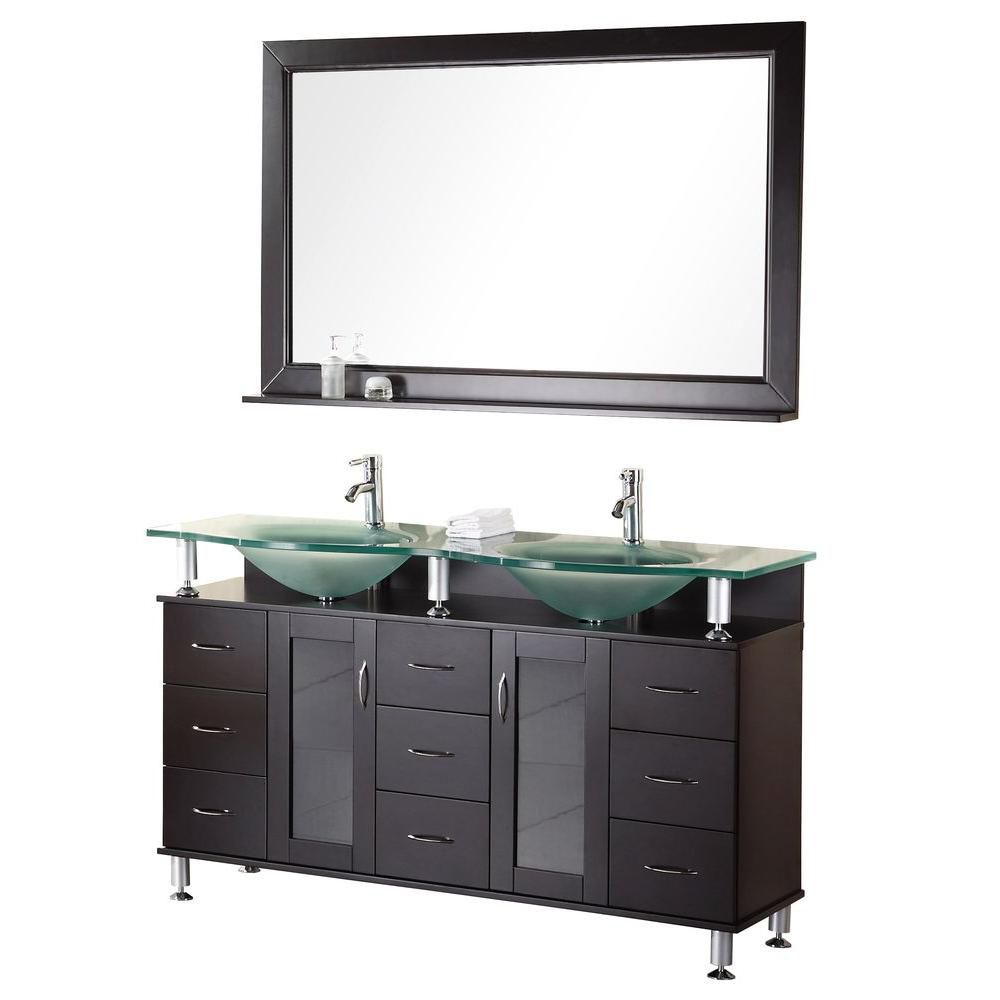 Redondo 60-inch W Vanity in Espresso with Glass Top in Aqua and Mirror