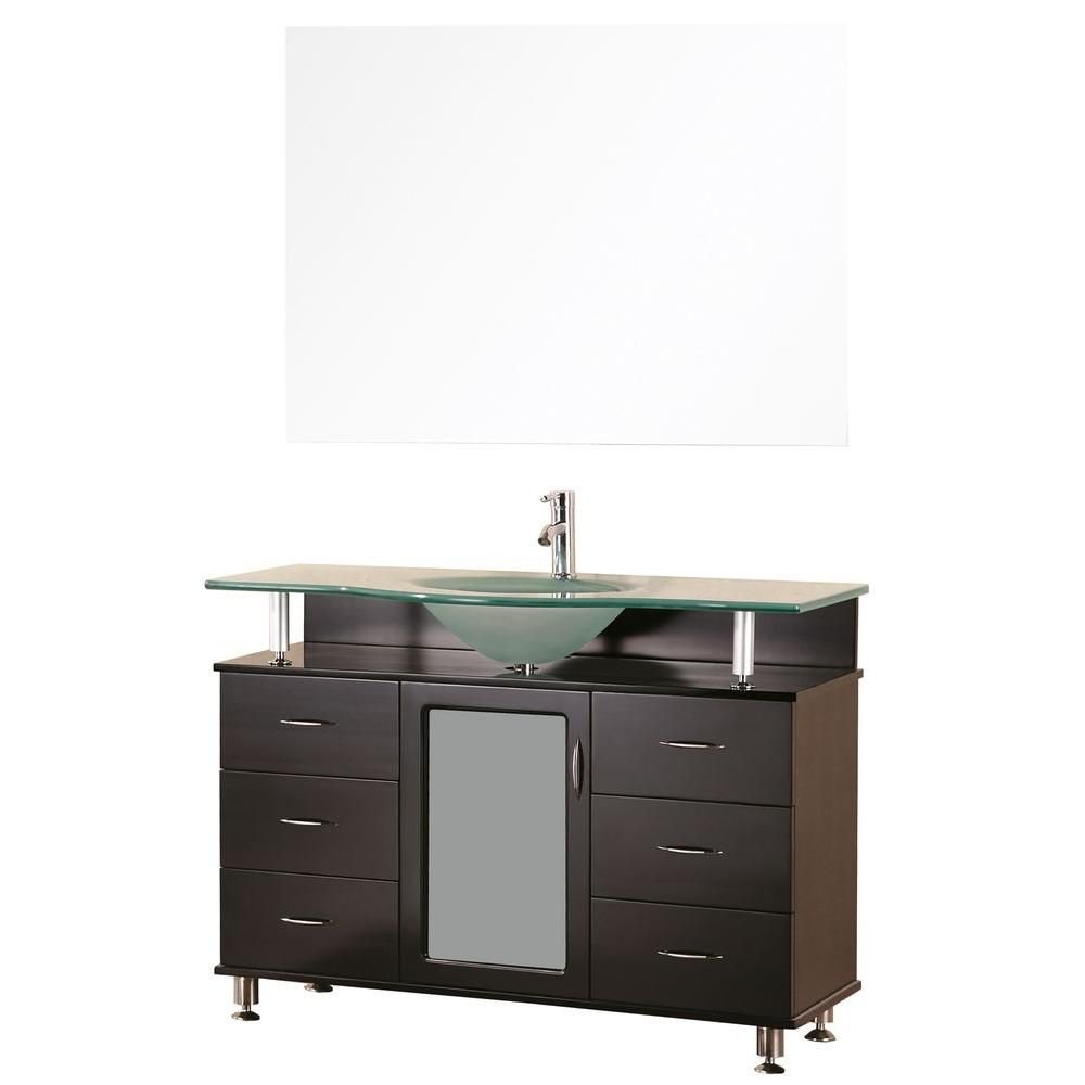 Huntington 48-inch W Vanity in Espresso with Glass Top in Aqua