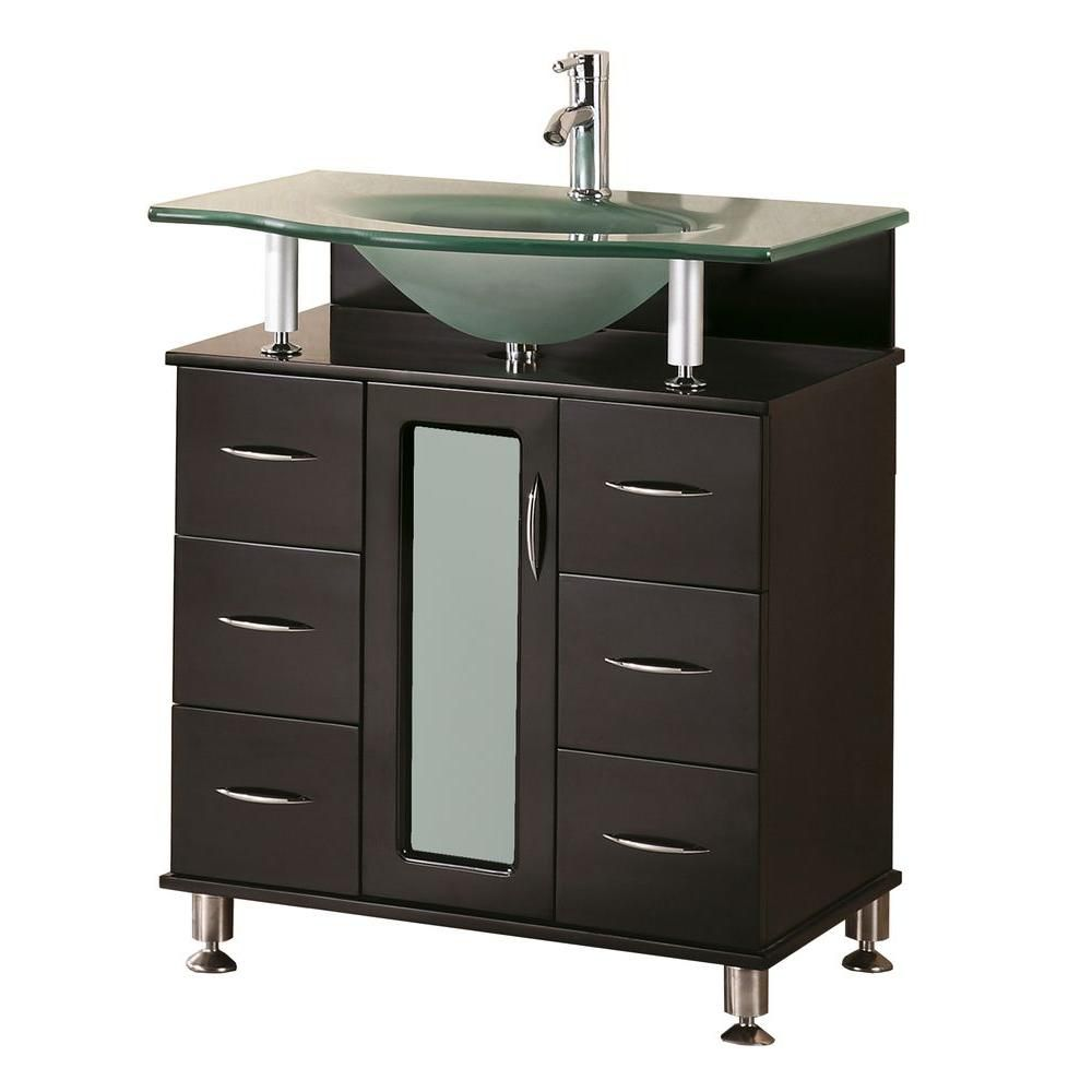 design element huntington 30 inch w x 22 inch d vanity in espresso with glass vanity top in aqua. Black Bedroom Furniture Sets. Home Design Ideas