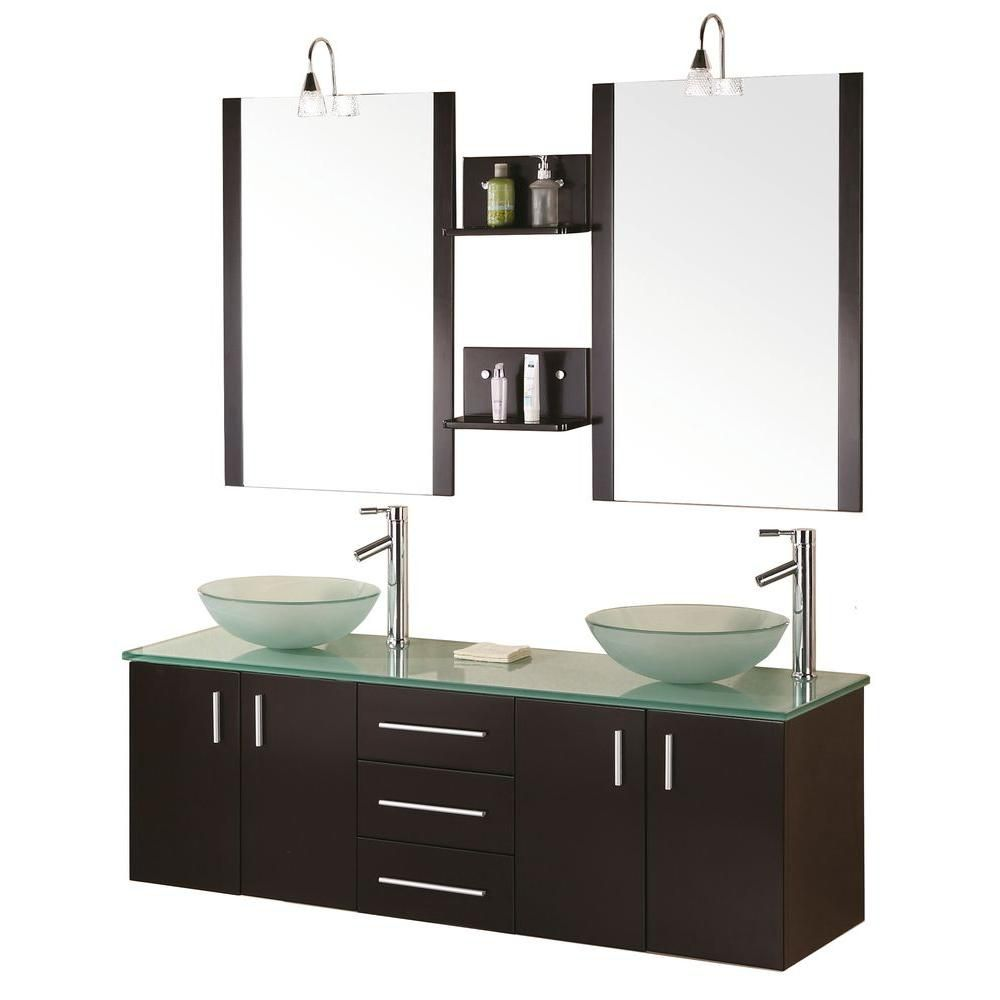 Modena 61-inch W Vanity in Espresso with Glass Top in Mint and Mirror
