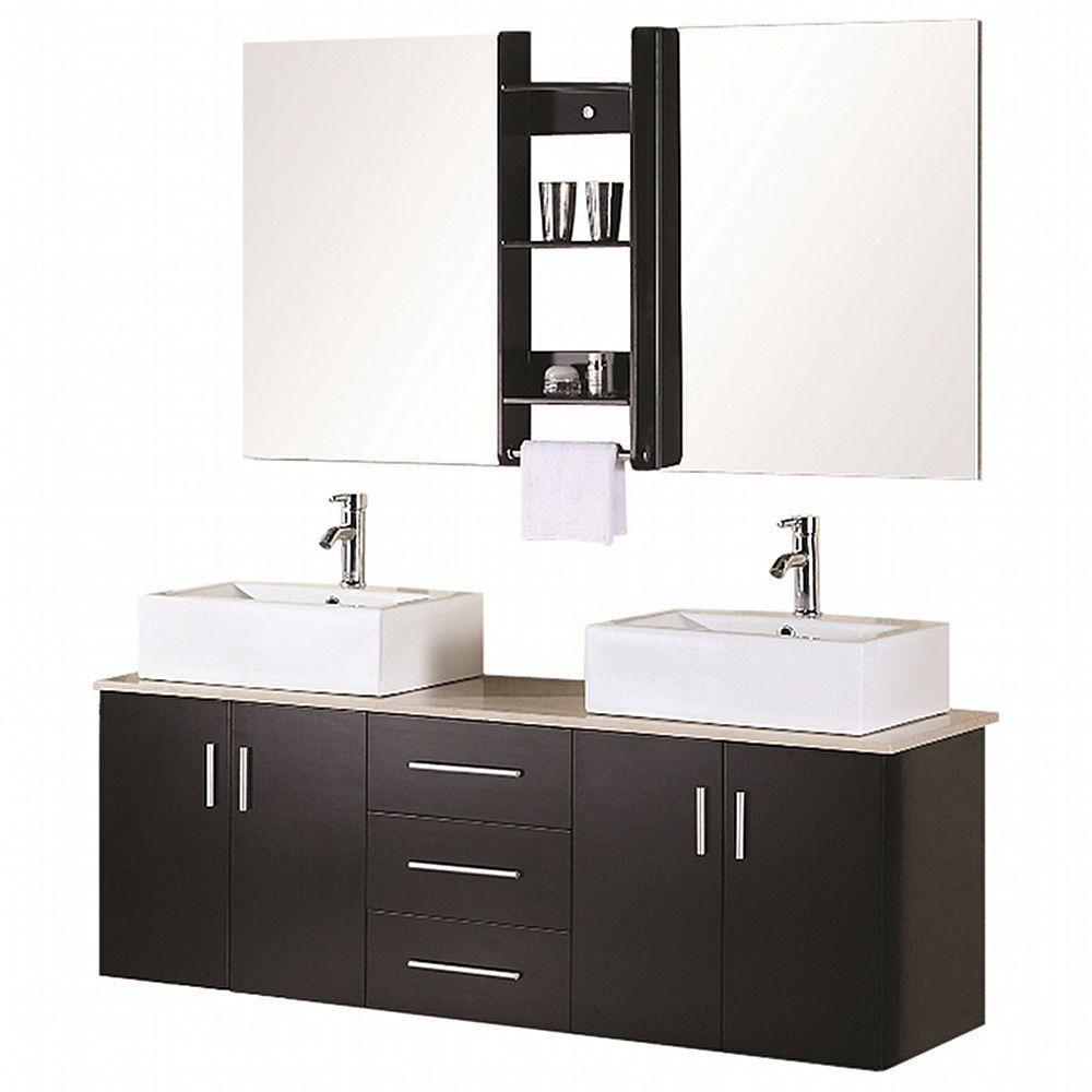 Ava 61-inch W Vanity in Espresso with Marble Top in Cream and Mirror