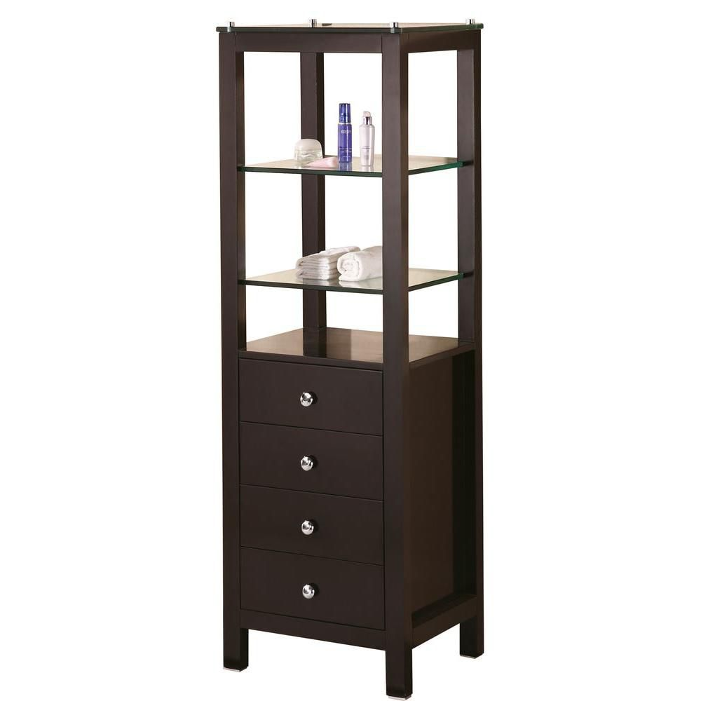 18 Inches W x 18 Inches D x 60 Inches H Linen Cabinet in Espresso (Faucet not included)