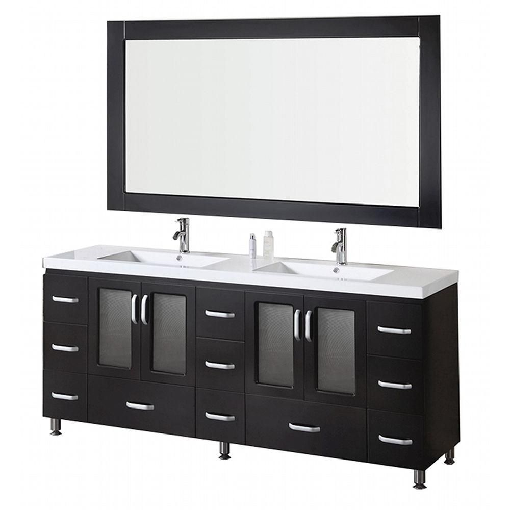 Stanton 72-inch W Vanity in Espresso with Acrylic Top in White and Mirror