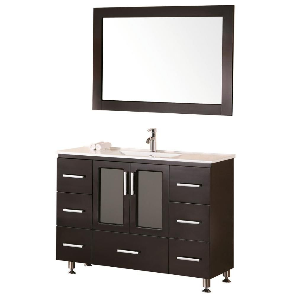 Stanton 48-inch W Vanity in Espresso with Porcelain Top in White and Mirror